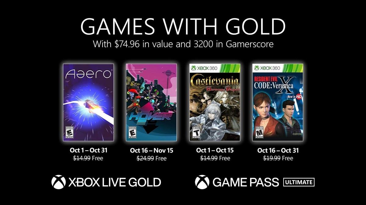 Se anuncia la alineación de Xbox Games with Gold de octubre